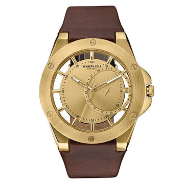 Kenneth Cole 10030786 Men's Transparency Gold Tone Dial Brown Leather Strap Watch