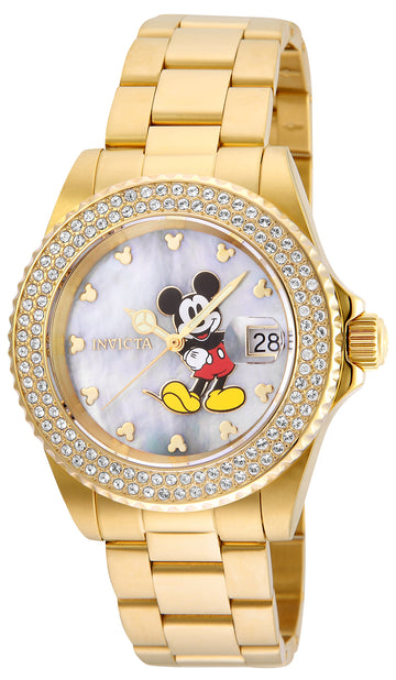 Invicta Women's Disney Angel Yellow Gold Steel Watch - Crystal MOP Dial | 24751