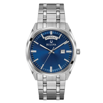 Bulova Men's Stainless Steel Watch - Classic Quartz Blue Dial Bracelet | 96C125