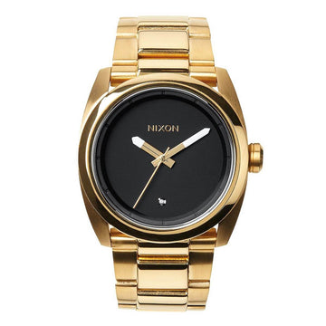Nixon Men's Diamond Watch - Kingpin Black Dial Yellow Gold Steel Bracelet | A507513