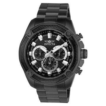 Invicta 22807 Men's Black Stainless Steel Quartz Aviator Chrono Black Dial Watch