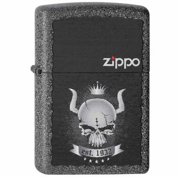 Zippo 28660 Iron Stone Matte Skull Crown Classic Windproof Pocket Lighter