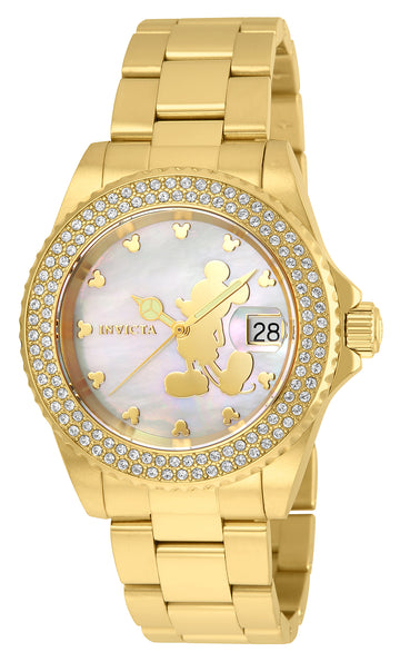 Invicta 22728 Women's Disney Limited Edition Yellow Gold Steel Bracelet MOP Dial Crystal Dive Watch