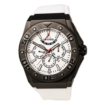 TW Steel CE5003 Men's CEO Diver White Dial Automatic White Silicone Strap Power Reserve Watch