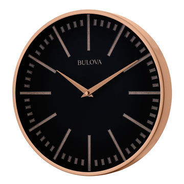 Bulova Wall Clock - Copper Classic Metal Design Black Dial | C4811