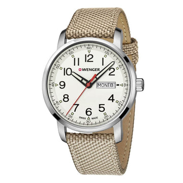 Wenger Men's Strap Watch - Attitude Heritage Beige Dial Nylon & Leather | 01.1541.112