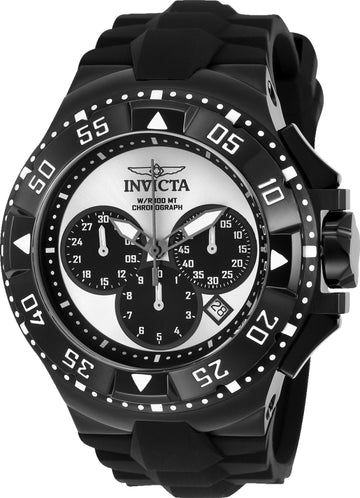 Invicta 23040 Men's Excursion Sport Chronograph Silver & Black Dial Black Silicone Strap Watch