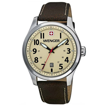 Wenger 0541.106 Men's Terragraph Swiss Made Beige Dial Brown Leather Strap Watch