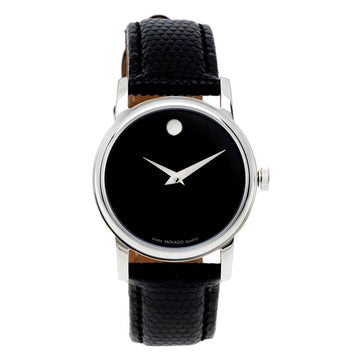 Movado Women's Strap Watch - Museum Black Dial Black Leather | 2100004