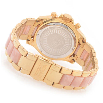 Invicta 17493 Women's Angel Collins Swarovski Crystal Bezel Pink Dial Steel & Resin Bracelet Watch