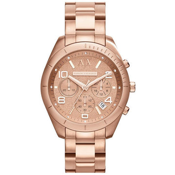 Armani Exchange AX5501 Women's Sarena Rose Gold Dial Rose Gold Steel Bracelet Chronograph Watch