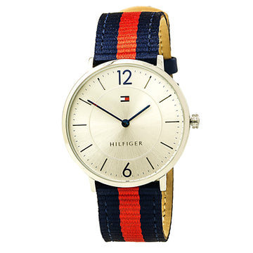 Tommy Hilfiger 1791328 Men's Ultra Slim Silver Dial Nylon & Leather Strap Watch