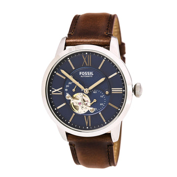Fossil ME3110 Men's Townsman Automatic Blue Semi-Skeleton Dial Brown Strap Watch