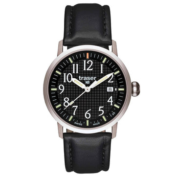 Traser 100322 Men's Classic Basic Type 3 Black Dial Black Leather Strap Watch