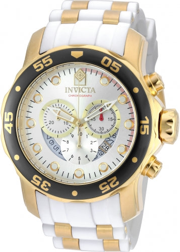 Invicta 20292 Men's Steel & Polyurethane Strap Swiss Quartz Pro Diver Chrono Silver Dial Date Watch