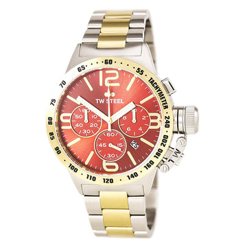 TW Steel CB73 Men's Canteen Bracelet Chrono Red Sunray Dial Two Tone Yellow Gold Steel Date Watch