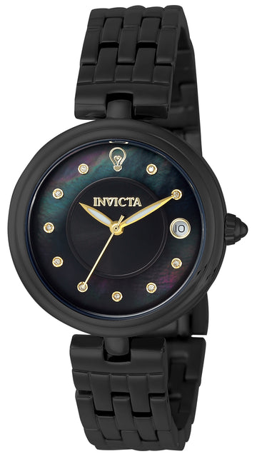 Invicta 22899 Women's Gabrielle Union Black & MOP Dial Black IP Steel Bracelet Diamond Watch