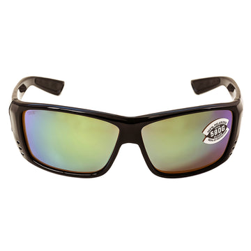 Costa Del Mar AT11OGMGLP Men's Cat Cay Polarized Green Mirror 580G Lens Shiny Black Frame Sunglasses