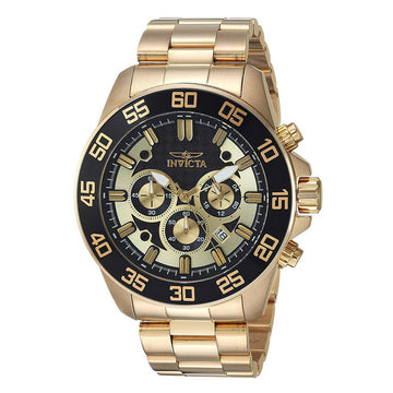 Invicta 24726 Men's Pro Diver Black & Gold Tone Dial Yellow Gold Steel Bracelet Chronograph Watch