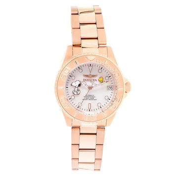 Invicta 24796 Women's Snoopy Character Automatic White MOP Dial Rose Gold Steel Bracelet Dive Watch