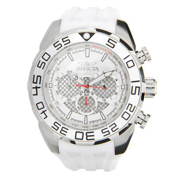 Invicta Men's Chronograph Watch - Speedway Rotating Bezel White Silicone Strap | 26299