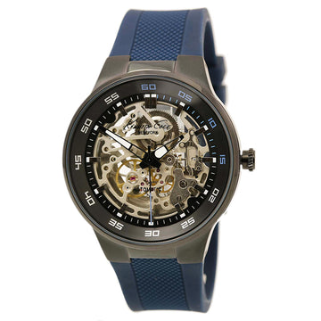 Kenneth Cole 10022784 Men's Blue Silicone Strap Automatic Black-Silver Skeleton Dial Watch