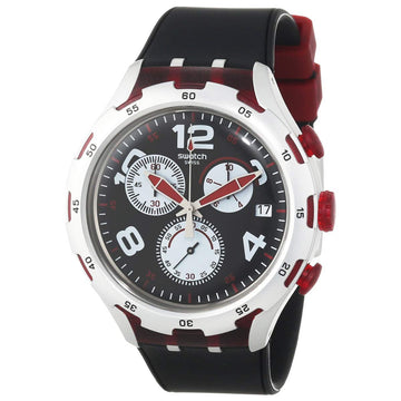 Swatch YYS4004 Men's Irony Black Dial Black Silicone Strap Chronograph Watch