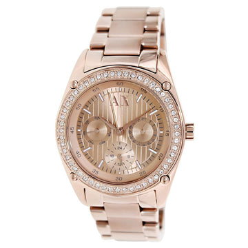 Armani Exchange AX5042 Women's Crystal Rose Gold Dial Rose Gold Steel Bracelet Watch