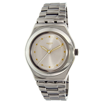 Swatch YLS197G Women's A Traveler's Dream Puntagialla Beige Dial Stainless Steel Bracelet Watch