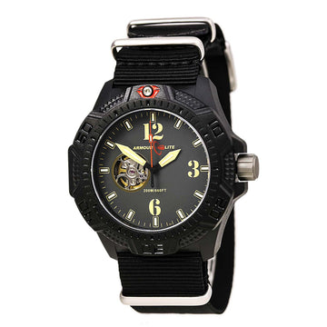 Armourlite AL1201 Men's Caliber Gold Accented Dark Grey Dial Black Strap Automatic Dive Watch