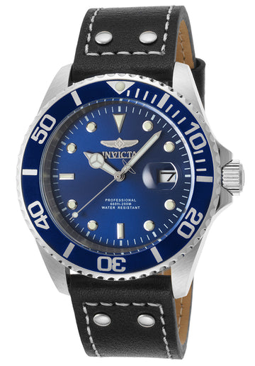 Invicta 22068 Men's Pro Diver Blue Dial Black Leather Strap Dive Watch