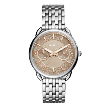 Fossil Women's Stainless Steel Watch - Tailor Quartz Beige Dial Bracelet | ES4225