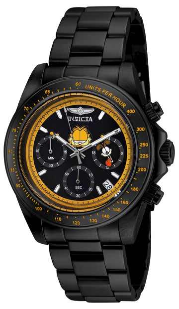 Invicta 24891 Men's Garfield & Odie Character Black Dial Black IP Steel Bracelet Chrono Dive Watch