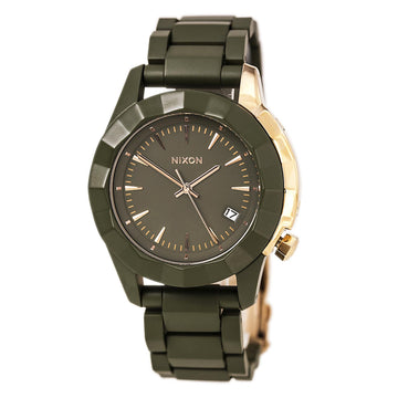 Nixon A2881419 Women's The Monarch Olive Green Acetate Bracelet Olive Green Dial Date Watch