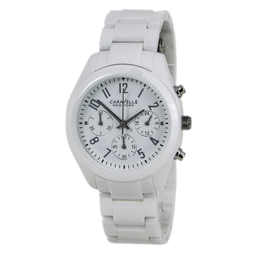 Caravelle 45L145 Women's New York Ceramic White Dial Chronograph Watch