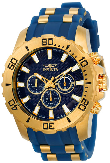 Invicta 22556 Men's Pro Diver Blue Dial Yellow Gold Steel & Blue Silicone Strap Chronograph Watch