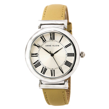 Anne Klein 2137SVTN Women's Quartz Beige Leather Band Silver