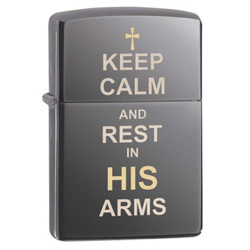 Zippo Windproof Pocket Lighter - Keep Calm And Rest In His Arms Black Ice | 29610