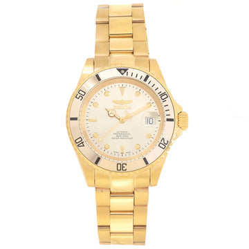 Invicta Men's Automatic Watch - Pro Diver Yellow Gold Steel Bracelet Gold Dial