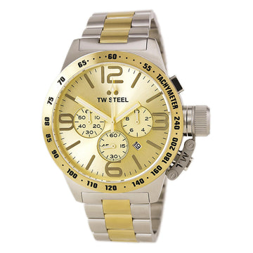TW Steel CB54 Men's Canteen Bracelet Gold Sunray Dial Chronograph Two Tone Yellow Gold Steel Watch