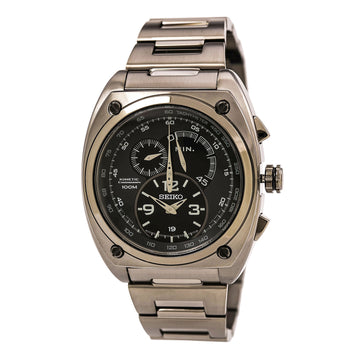 Seiko SNL073 Men's Kinetic Chronograph Black IP Steel Bracelet Quartz Black Dial Date Watch