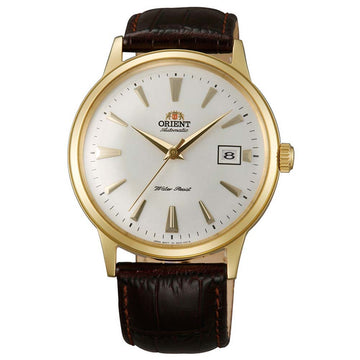 Orient ER24003W Men's Bambino Automatic White Dial Gold Tone Leather Strap Mechanical Watch