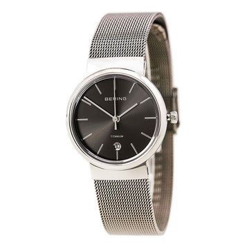 Bering 11029-077 Women's Black Dial Grey IP Steel Mesh Bracelet Watch