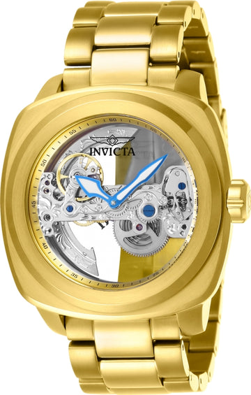 Invicta Men's Automatic Watch - Aviator Skeleton Dial Yellow Steel Bracelet | 25235