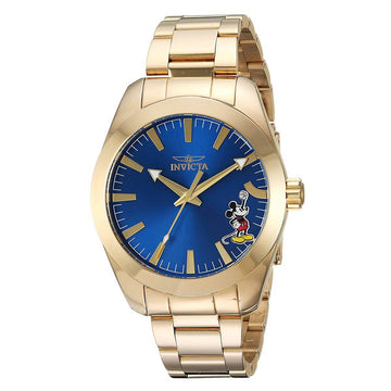 Invicta Men's Bracelet Watch - Disney Blue Dial Yellow Gold Steel Dive | 25241