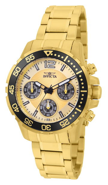 Invicta Women's Chronograph Watch - Pro Diver Yellow Gold Steel Bracelet | 25747