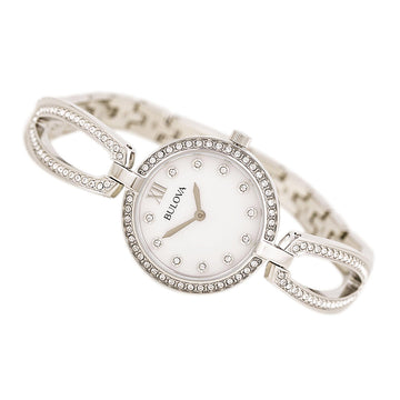 Bulova 96L223 Women's Crystal White MOP Dial Steel Bangle Bracelet Dress Watch