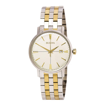 Bulova Men's Two Tone Bracelet Watch - Classic Quartz Cream Dial | 98B255