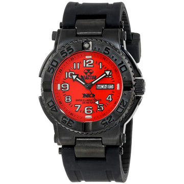 Reactor 59811 Men's Trident DNA Never Dark Red Dial Black Rubber Strap Dive Watch