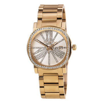 Wittnauer WN4008 Women's Adele Rose Gold Steel Bracelet Silver Dial Crystal Date Watch